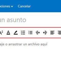 barra de formato de texto en hotmail