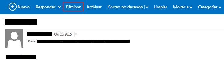cómo eliminar mensajes en hotmail