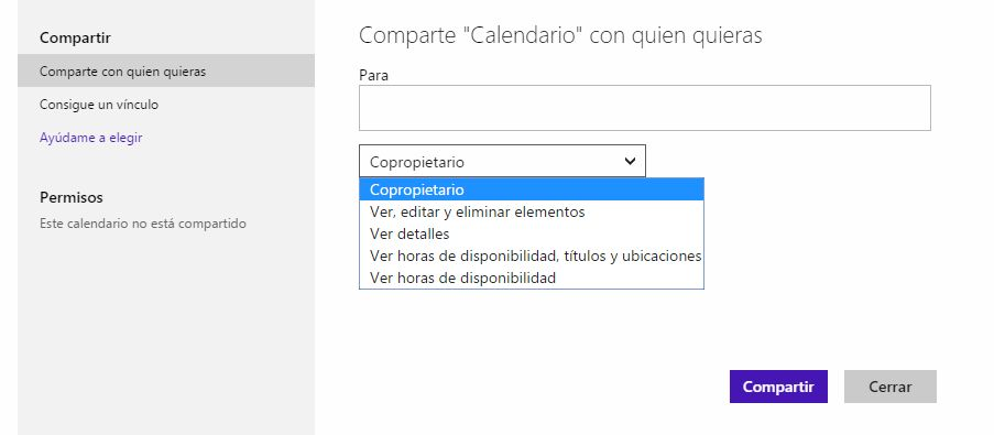 compartir calendario en hotmail