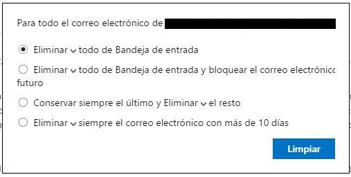 Programar limpieza en Hotmail