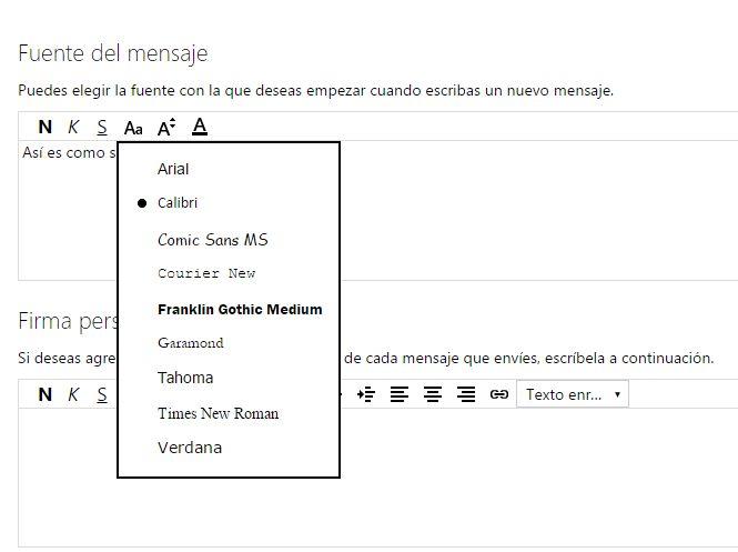 configurar formato fuente y firma en hotmail
